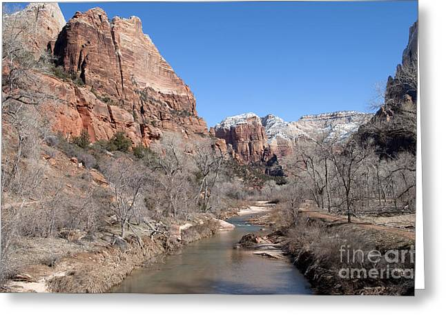 Greeting Card featuring the photograph Winter In Zion by Bob and Nancy Kendrick