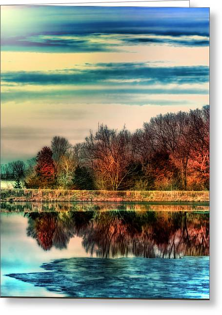 Winter Lake Fantasm Greeting Card by Bill Tiepelman