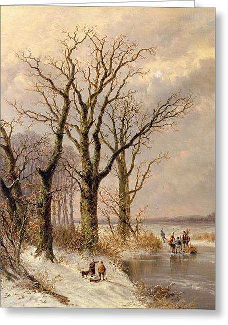 Winter Landscape With Faggot Gatherers Conversing On A Frozen Lake Greeting Card by Josephus Gerardus Hans