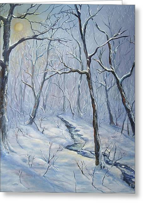 Greeting Card featuring the painting Winter Light by  Luczay