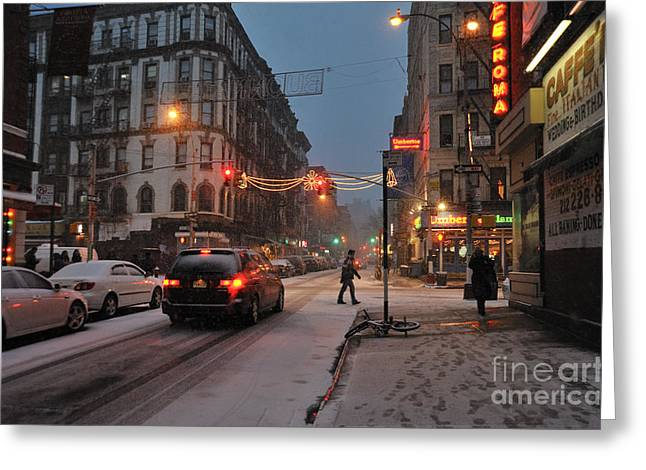 Winter Night On Mulberry Street Greeting Card by Ed Rooney