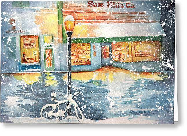 Winter On Whiskey Row Prescott Arizona Greeting Card by Sharon Mick