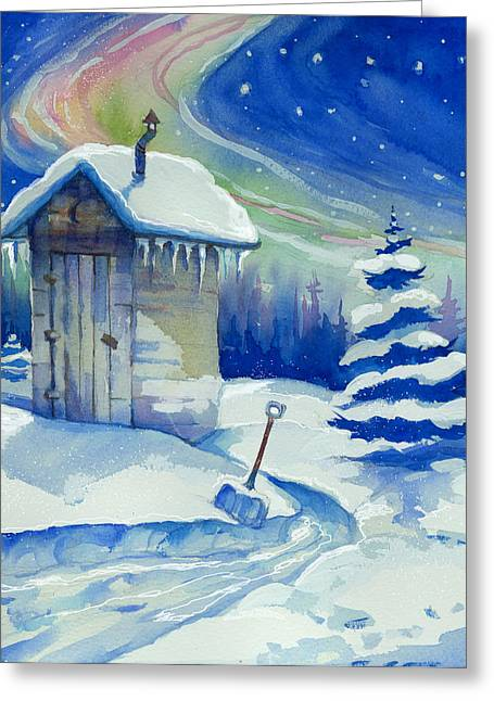 Winter Outhouse Greeting Card by Peggy Wilson
