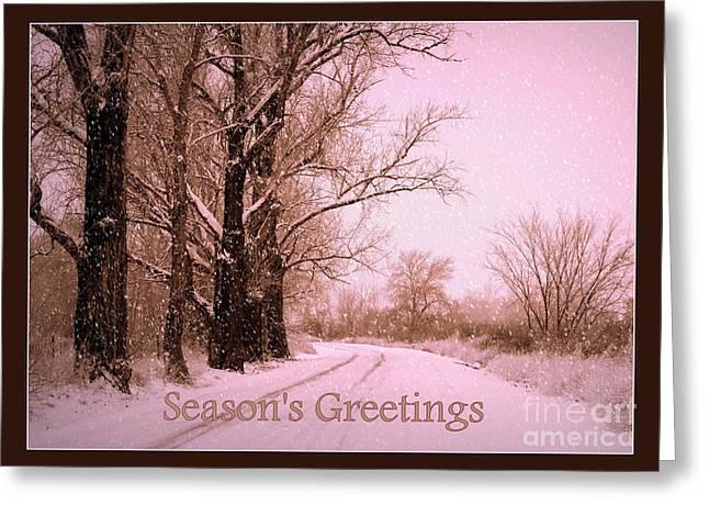 Winter Pink Season's Greetings Greeting Card by Carol Groenen