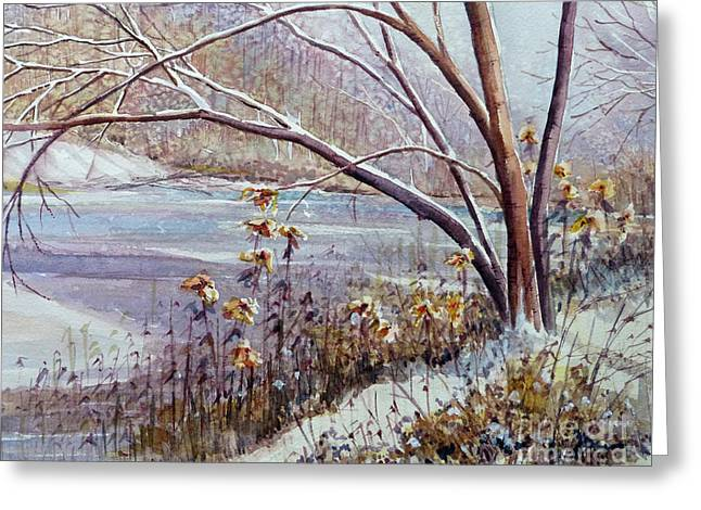 Winter River Greeting Card by Louise Peardon