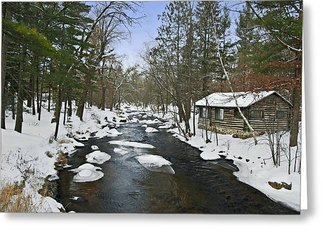 Greeting Card featuring the photograph Winter Saxeville Log Cabin by Judy  Johnson