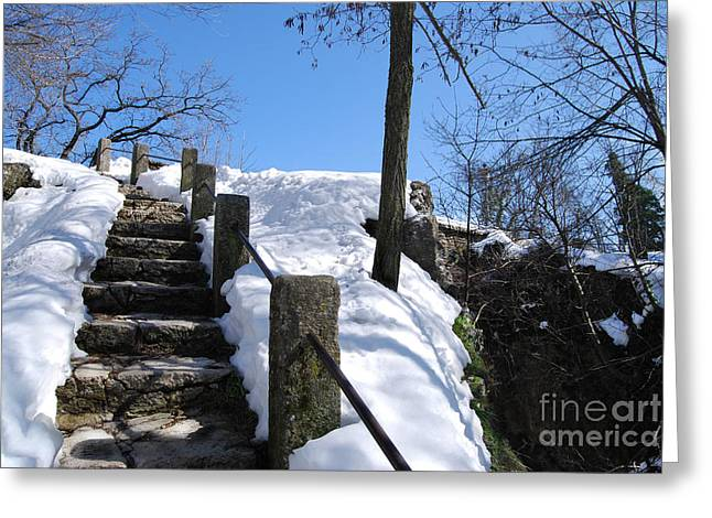 Greeting Card featuring the photograph Winter Scene Of San Marino Castles  Pathway  by Alexandra Jordankova