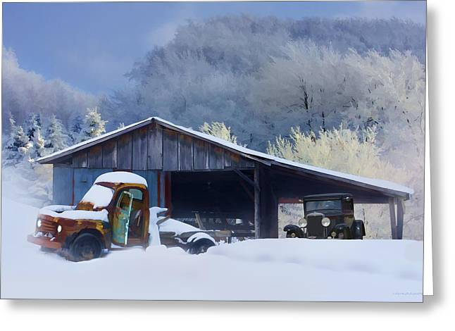 Winter Shed Greeting Card by Ron Jones