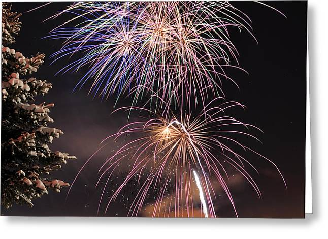 Winter Solstice Fireworks Greeting Card