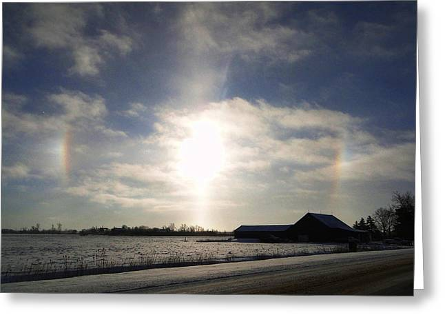Winter Sun Dogs Greeting Card by Bruce Ritchie