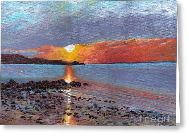 Winter Sunset Centre Island Beach Greeting Card by Susan Herbst