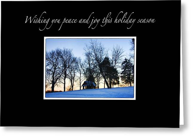 Winter Sunset Christmas Card Greeting Card by Daphne Sampson