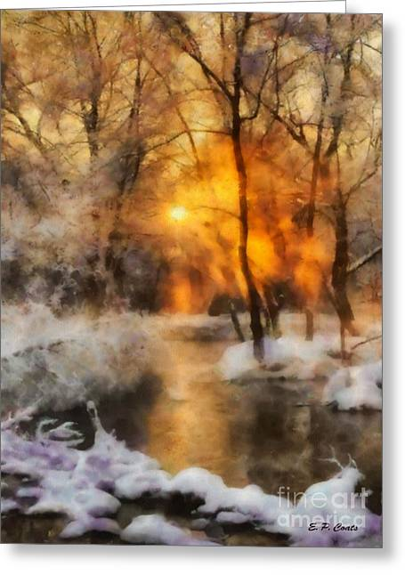 Winter Sunset Greeting Card by Elizabeth Coats