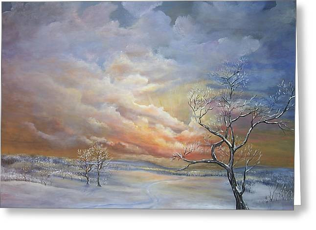 Greeting Card featuring the painting Winter Sunset by Luczay