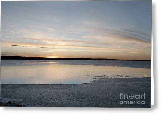 Winter Sunset Over Lake Greeting Card