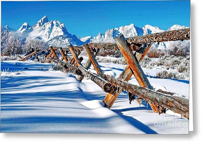 Winter Tetons Fence Greeting Card by Richard Brady