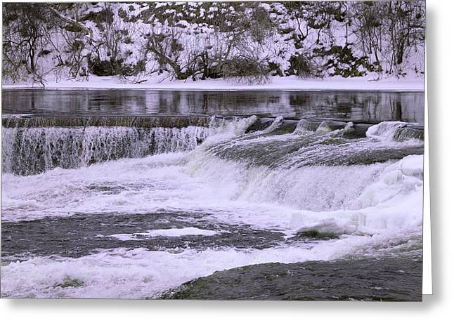Greeting Card featuring the photograph Winter Waterfalls by Josef Pittner