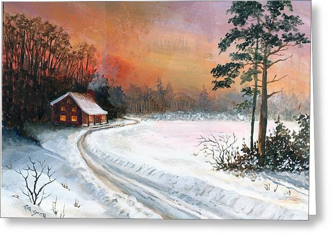 Winters Glow Greeting Card by Rita Smith