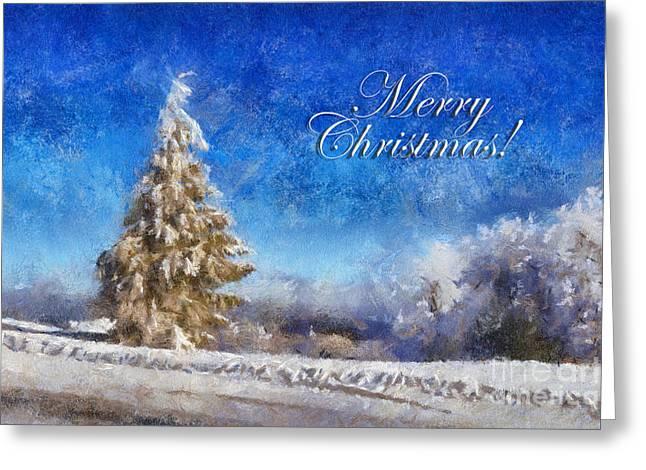 Wintry Christmas Tree Greeting Card Greeting Card