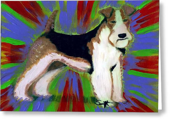 Wire Fox Terrier Greeting Card by Char Swift