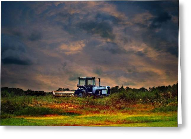 Wisconsin Landscape White Tractor Greeting Card by Ms Judi