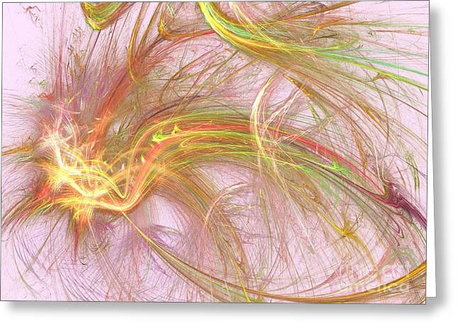 Greeting Card featuring the digital art Wispy Willow by Kim Sy Ok