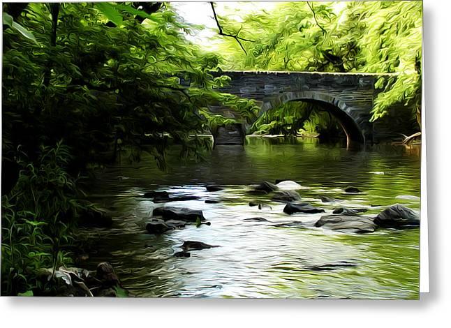 Wissahickon Bridge Greeting Card by Bill Cannon