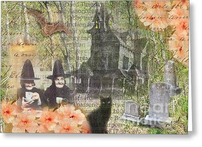 Witches At Home Greeting Card by Ruby Cross