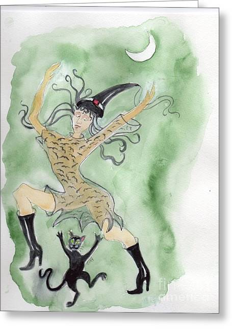 Greeting Card featuring the painting Witches Dance With Cats On Halloween by Doris Blessington
