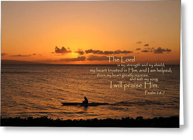 With My Song I Will Praise Him Greeting Card by Jeanne Geidel-Neal