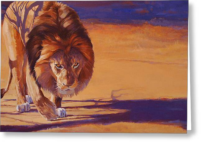 Within Striking Distance - African Lion Greeting Card by Shawn Shea