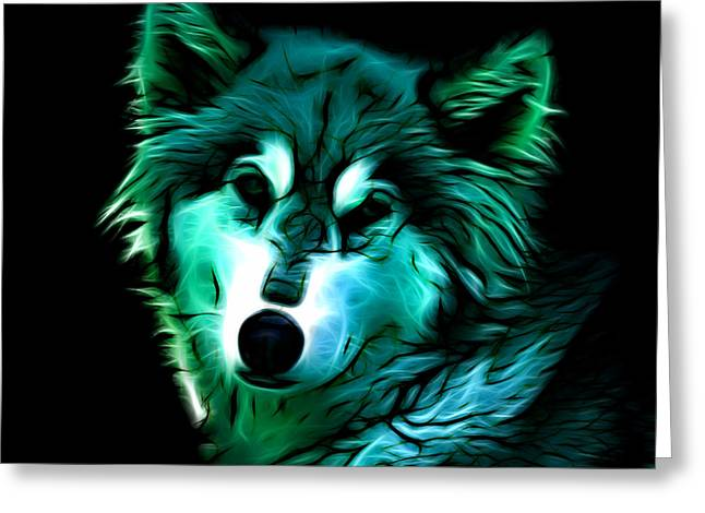 Wolf - Cyan Greeting Card