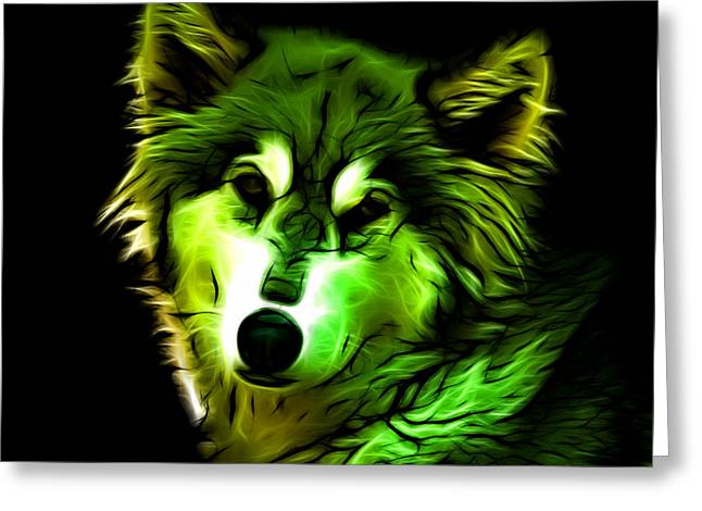 Wolf - Green Greeting Card