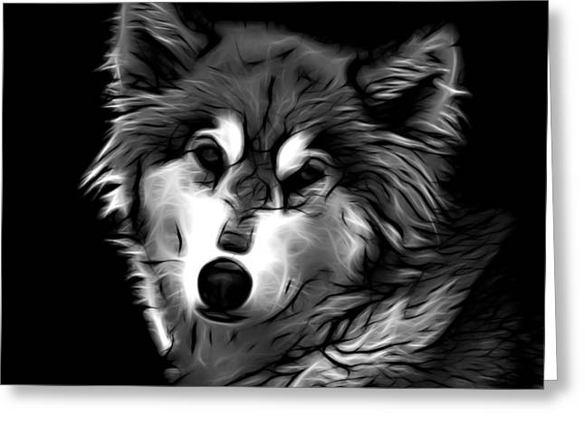 Wolf - Greyscale Greeting Card by James Ahn