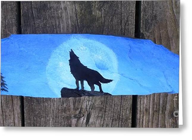 Wolf Howl1 Greeting Card by Monika Shepherdson