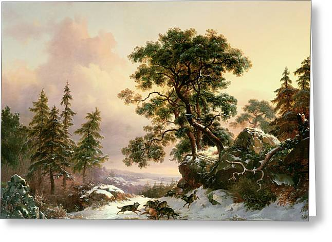 Wolves In A Winter Landscape Greeting Card by Frederick Marianus Kruseman