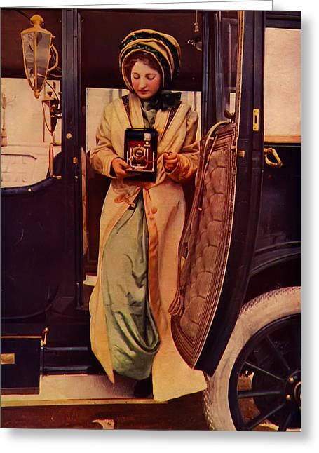 Woman And Antique Camera Greeting Card by Jennifer Rondinelli Reilly - Fine Art Photography