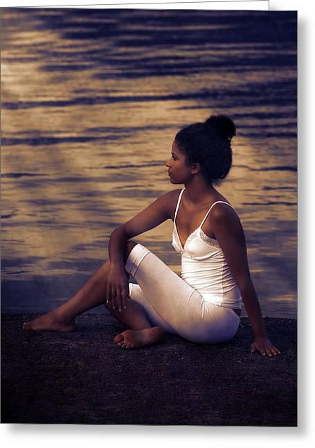 Woman At A Lake Greeting Card by Joana Kruse