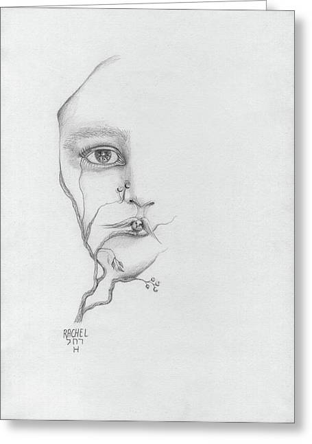 Woman Face Growing Out Of A Tree Branch Black And White Surrealistic Fantasy  Greeting Card by Rachel Hershkovitz