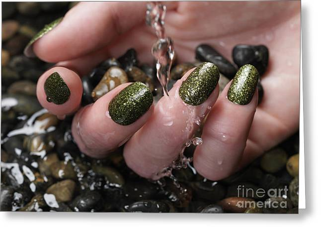 Woman Hand With Fancy Nail Polish In Water Greeting Card by Oleksiy Maksymenko
