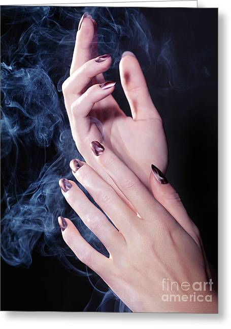Woman Hands In A Cloud Of Smoke Greeting Card by Oleksiy Maksymenko