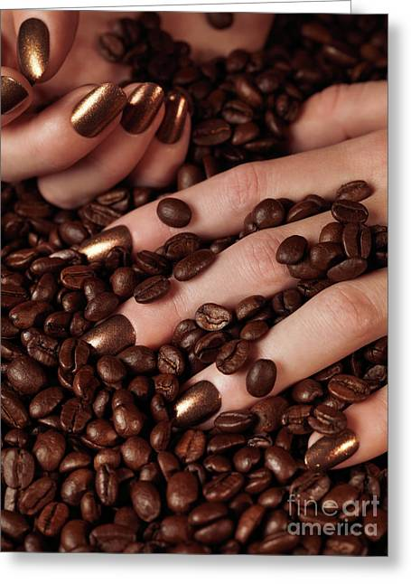 Woman Hands In Coffee Beans Greeting Card by Oleksiy Maksymenko
