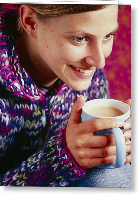 Woman Holding A Cup Of Tea Greeting Card by Veronique Leplat