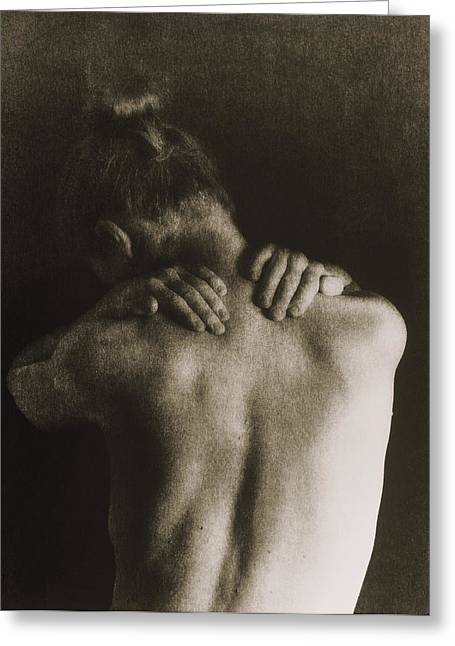 Woman Holding Her Neck Due To Pain Greeting Card