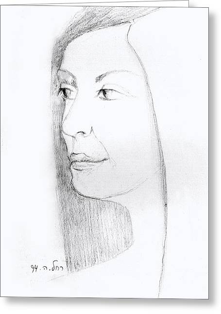 Woman In Black And White Long Hair Red Lips And Shoulders  Greeting Card by Rachel Hershkovitz