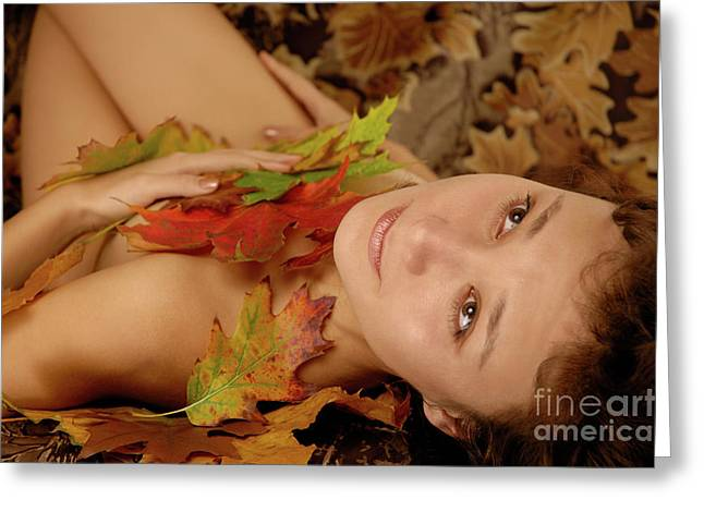Woman In Fallen Leaves Greeting Card by Oleksiy Maksymenko
