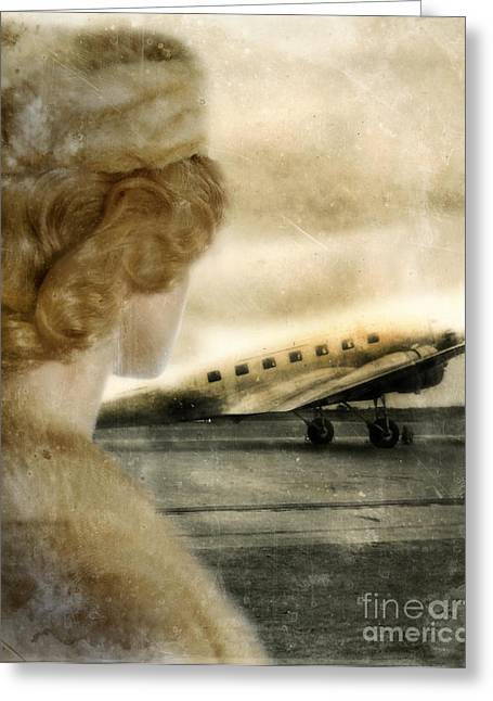 Woman In Fur By A Vintage Airplane Greeting Card by Jill Battaglia