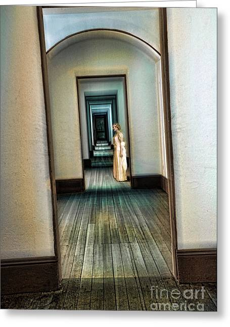 Woman In Vintage Gown In Hall Of Doorways Greeting Card by Jill Battaglia