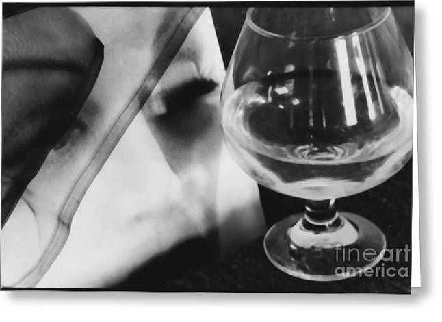 Woman Looking Through Glass Version 1 Greeting Card