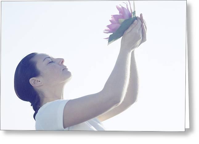 Woman Meditating Greeting Card